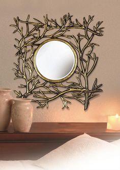 Bramble Wall Mirror In Dark Walnut With Silver Accent