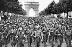 American troops on the Champs Elysee Paris 28th Infantry Division