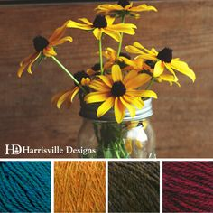 'Blackeyed Susan's' color palette features Shetland yarn in Peacock, Foliage…