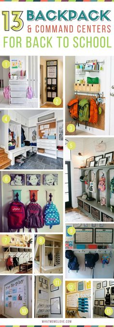 Best Family Command Center Ideas | Back to School Organization | Backpack and entryway organization ideas for kids school gear