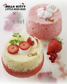 『Angel Cake Fraise』pour Hello Kitty  & 『Angel Cake Sakura』pour Madame Câlin | Ciel Pâtisserie