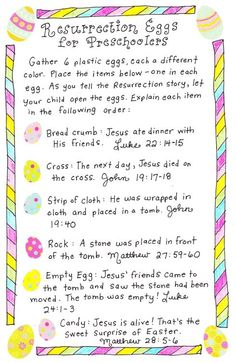 Resurrection Eggs for Toddlers  With just 6 eggs, a simple story-telling sentence for each, and easy peasy items to go inside, these Resurrection Eggs for Toddlers are so doable!  *printable*  -crumb/cracker-  -tissue-  -cross-  -rock-  -empty-  -treat- M: