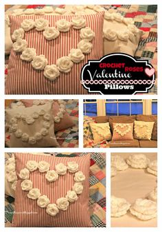 Priscillas: The Cutest Crocheted Rose Valentines Pillows