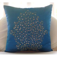 Damask Royal Blue - Euro Sham Covers - 26x26 Inches Euro Sham Cover with Damask Embroidery. $49.95, via Etsy.