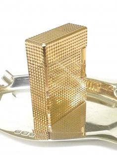 S.T. DUPONT LIGHTER ~ YELLOW 18 K GOLD DIAMOND HEAD ~ BOXED ~ SERVICED ~ PRISTINE ~ VERY NICE !!!