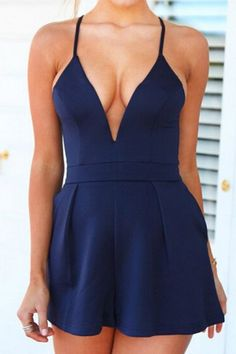 Plunging Neck Solid Color Zippered Romper