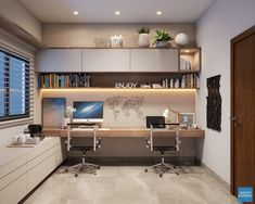 Interior design - Home Office on Behance Home Office Layouts, Home Office Setup, Home Office Space, Office Ideas, Home Office Bedroom, Office Table, Teen Bedroom, Home Office Furniture Design, Office Interior Design