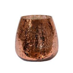 Waxinelichthouder glas. Een bolle glazen vaas met een artistiek uiterlijk. #intratuin