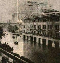1929 - A maior enchente no centro de São Paulo onde temos a praça do Correio, avenida São João e o Vale do Anhangabau