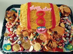 8th Bday treasure chest cake With a lot of loot..