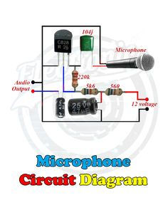 Microphone Circuit Diagram in 2019 Electronics Projects, Simple Electronics, Hobby Electronics, Electrical Projects, Electronics Components, Mechatronics Engineering, Electronic Engineering, Jeep Cj7, Electronic Circuit Design