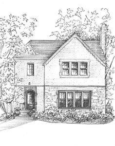 Ink House Portrait, commissioned original artwork family history, draw my house from photo, architectural house sketch, black and white art - Architecture White Ink, Black And White, Building Sketch, House Sketch, Sketch Painting, Watercolor And Ink, House Painting, Stranger Things, Custom Homes