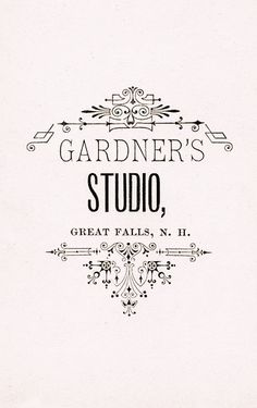 gardner's studio cabinet card back