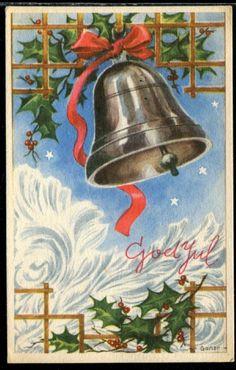 Ganer Vintage Christmas Cards, Xmas Cards, Christmas Postcards, Xmas Bells, Art Deco Illustration, Illustrations, Nostalgic Art, Scandinavian Christmas, Decorative Bells