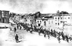 Armenians are marched to a nearby prison in Mezireh by armed Turkish soldiers. Kharpert, Armenia, Ottoman Empire - April, *From the collection of Project SAVE Armenian Photograph Archives. Photographed by an anonymous German traveler. World War I, World History, History Books, Istanbul, Armenian History, Armenian Men, Armenian Culture, Empire Ottoman, Turkish Soldiers