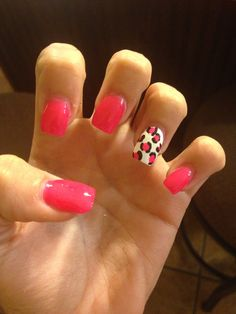 Pink cheetah nail art