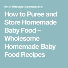 How to Puree and Store Homemade Baby Food – Wholesome Homemade Baby Food Recipes