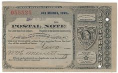 Des Moines, IA 1889 Postal Note #055525 Issued for 2 cents