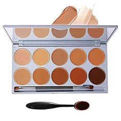 DELANCI 10 Colors Pro Face Cream Concealer Contour Makeup Palette Highlighting and Contouring Complete Coverage Camouflage Concealers Cosmetics Set Kit with Mirror Make Up Oval Brush Tool -- Read more  at the image link.