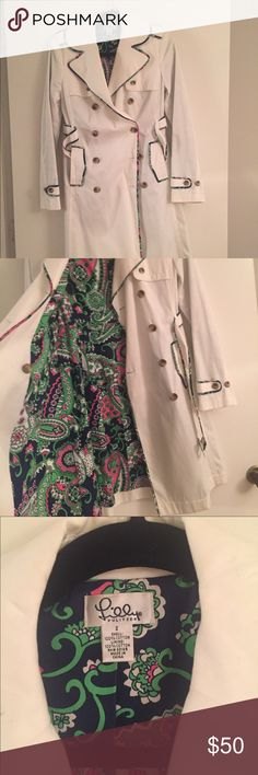 SALE: Lilly Pulitzer Trench Coat Very cute trench coat with pretty floral lining and trim. Just trying to make some more room in my closet. Open to reasonable offers if made through the offer button only. Thanks! Lilly Pulitzer Jackets & Coats Trench Coats