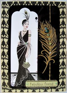 Art Deco Fabulous Friend handmade card Stunning card for any occasion  4.50
