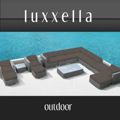 Modern Outdoor Patio Furniture Wicker Bella 15 PIECE DARK GREY by Luxxella. $2749.00. Espresso Wicker. The Bella 15 Piece Patio Set includes 2 Arm Chairs, 2 Medium Ottomans, 2 Large Ottomans, 4 Middle Piece Sectionals, 3 Corner Seats, 1 Large Coffee Table, and 1 Smaller side table.. This Set is available for delivery with a signature.. The Bella 15 Piece Outdoor Wicker Patio Set is perfect for most any larger outdoor or indoor living space the streamline ergonomic design mak...