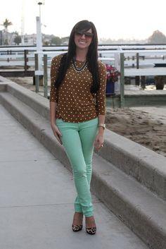 tan polka dot top, mint bottoms, leopard shoes