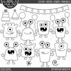 monsters stamps birthday clip art digital aliens by PaperiePixel art monsters stamps birthday clip art digital aliens clipart - Boy Birthday Monsters Digital Stamps Birthday Clips, Boy Birthday, Clipart Boy, Clip Art, Monster Party, Little Monsters, Digital Stamps, Scrapbook Kit, Doodle Art