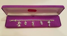 "Snoopy Peanuts Sterling Silver Charm Bracelet 6 7/8"" Long Giftable Woodstock"