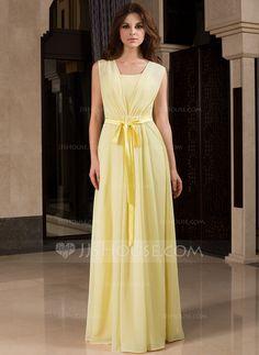 A-Line/Princess V-neck Floor-Length Chiffon Charmeuse Bridesmaid Dress With Ruffle Bow(s) (007027453)
