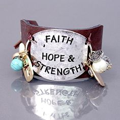 """Accessory Accomplice Silvertone Hammer Finish Engraved """"Faith, Hope & Strength"""" Cross Charm Brown Leather Cuff Bracelet Accessory Accomplice http://www.amazon.com/dp/B00GS6Z550/ref=cm_sw_r_pi_dp_73r6tb133JRRZ"""