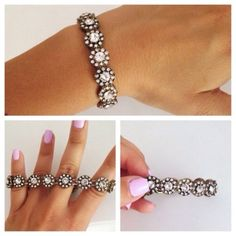 Stretch Floral Circle Boucle Chic Crystal Bracelet Adorable! Stretches to fit all hand sizes. My last one! Brand new. All jewelry is buy 2 get 1 free! Jewelry Bracelets