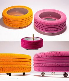 Projet recyclage DIY in 2020 Dirt Bike Room, Tire Furniture, Creative Kids Rooms, Tire Art, Lounge Party, Tyres Recycle, Old Tires, Recycled Crafts, Furniture Makeover