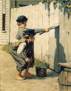 Two boys and a brush.... Norman Rockwell Prints, Norman Rockwell Paintings, American Illustration, Illustration Artists, Peintures Norman Rockwell, Illustrator, Adventures Of Tom Sawyer, Image Film, Fence Art