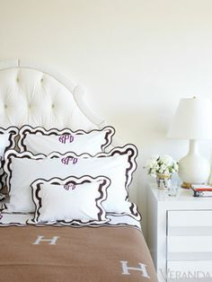 Kelli Ford's Bedroom with monogram and Hermes Blanket in Veranda Home Bedroom, Bedroom Decor, Hermes Blanket, Monogram Bedding, Guest Bedrooms, Guest Room, Beautiful Bedrooms, Apartment Design, Decoration