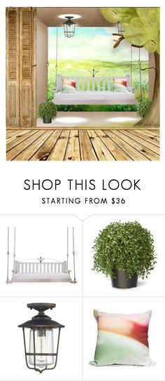 """Porch Swings"" by barbarapoole ❤ liked on Polyvore featuring interior, interiors, interior design, home, home decor, interior decorating, Lowcountry Originals, National Tree Company, Capital Lighting and Elise Flashman"