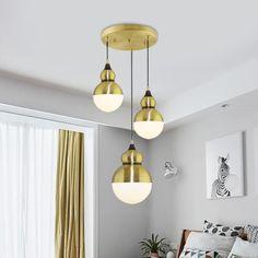 Gourd Dinette Multi-Light Pendant Cream Matte Glass 3 Bulbs Modernism Hanging Light in Brass - 220V-240V Brass