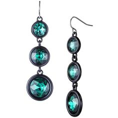 Teal Casted Glass Linear Earring ($13) ❤ liked on Polyvore