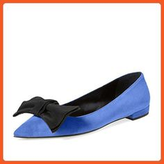 878866c3d42 YDN Women Comfy Pointy Toe Flats Suede Casual Slip on Fabric Bowknot Ballet  Shoes Navy 13
