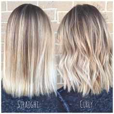 bright blonde balayage styled straight and curly