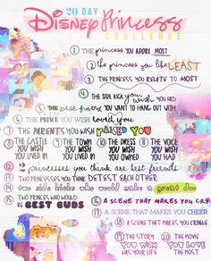A 20 Day Disney Princess Photo Challenge // What do you think @Jenn Kornoff ? (I think the question about parents is difficult - so many princesses had one or none parents!)