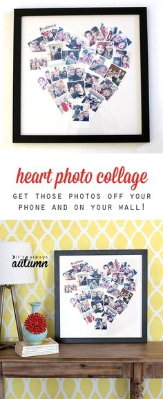 Get your photos off your phone and on you wall with this cute DIY heart photo collage.