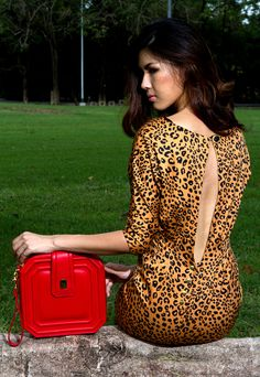 asscher red with animal print dress Animal Print Dresses, Bag Accessories, Dresses With Sleeves, Long Sleeve, Red, Bags, Fashion, Handbags, Moda