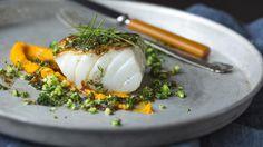 Stekt torsk med «brokkolicouscous» og gulrot- og appelsinpuré
