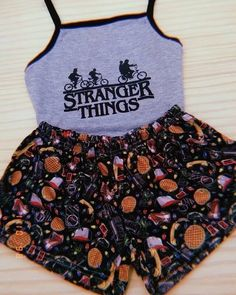 Stranger Things inspired Tank Top and Shorts Outfit for women Cute Lazy Outfits, Trendy Outfits, Summer Outfits, Winter Outfits, Cute Pjs, Cute Pajamas, Teen Fashion Outfits, Girl Outfits, Cute Sleepwear