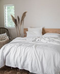 A crisp & bright white to add pureness to any room. With our range of white French flax linen, stonewashed to perfection, you simply cant go wrong! Home Bedroom, Modern Bedroom, Bedroom Decor, Bedroom Inspo, Bedroom Ideas, Decoration Inspiration, Room Inspiration, Interior Inspiration, Home Design Decor