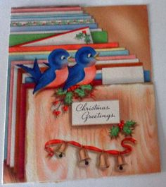 Antique 1943 CHRISTMAS GREETINGS Blue Birds Used QUALITY CARDS  A12 34