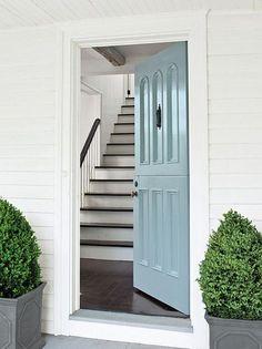 Want a blue door.Benjamin Moore - home exteriors - Benjamin Moore - Breath of Fresh Air - blue door, blue front door, powder blue door, potted topiary, Beautiful Front Door Paint Colors, Painted Front Doors, Exterior Paint Colors, Paint Colours, Exterior Gris, Exterior Design, Wall Exterior, Br House, Trending Paint Colors