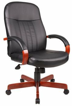 Boss Hi-Back Executive Chair With Cherry Finish Executive Seating by BOSS. $126.91. Beautifully upholstered In black LeatherPlus, Passive ergonomic seating with built in lumbar support, Hardwood arms accented with upholstered pads, Hardwood caps, on 27-inch  steel leg base, for greater stability, Hooded double wheel casters, Large 27-inch  nylon base for greater stability, Upright locking position, Pneumatic gas lift seat height adjustment, Adjustable tilt tension control, Avail...