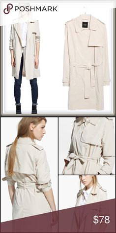 MNG by Mango Zip Trench coat ➖BRAND: MNG by Mango ➖SIZE: Large ➖STYLE: A beige asymmetrical zippered trench coat a belt that can be tied in the front. Mango Jackets & Coats Trench Coats